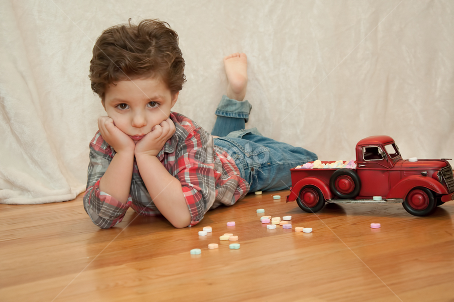 Little Heart Breaker by Chris Cavallo - Babies & Children Child Portraits ( red, heart, valentines, truck, vintage, boy, portrait,  )