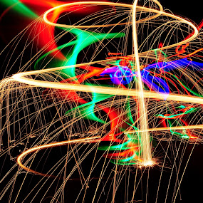 Fire, Earth & LED's No.49 by George Krieger - Abstract Light Painting ( led, writing, steel, wool, light )