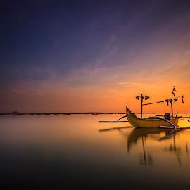 Double Yellow by Choky Ochtavian Watulingas - Transportation Boats ( reflections, seascape, sunrise, boat, skies )