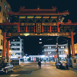 ChinaTown  by Josh Swensen - Instagram & Mobile iPhone ( #seattle #china #town #architecture #lights #night #city #beautiful #art )