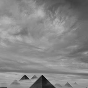 Pyramide in Dusk fog by Christian Tiboldi - Black & White Landscapes ( piramyde, nebel, abent, fog, pyramid, dusk )