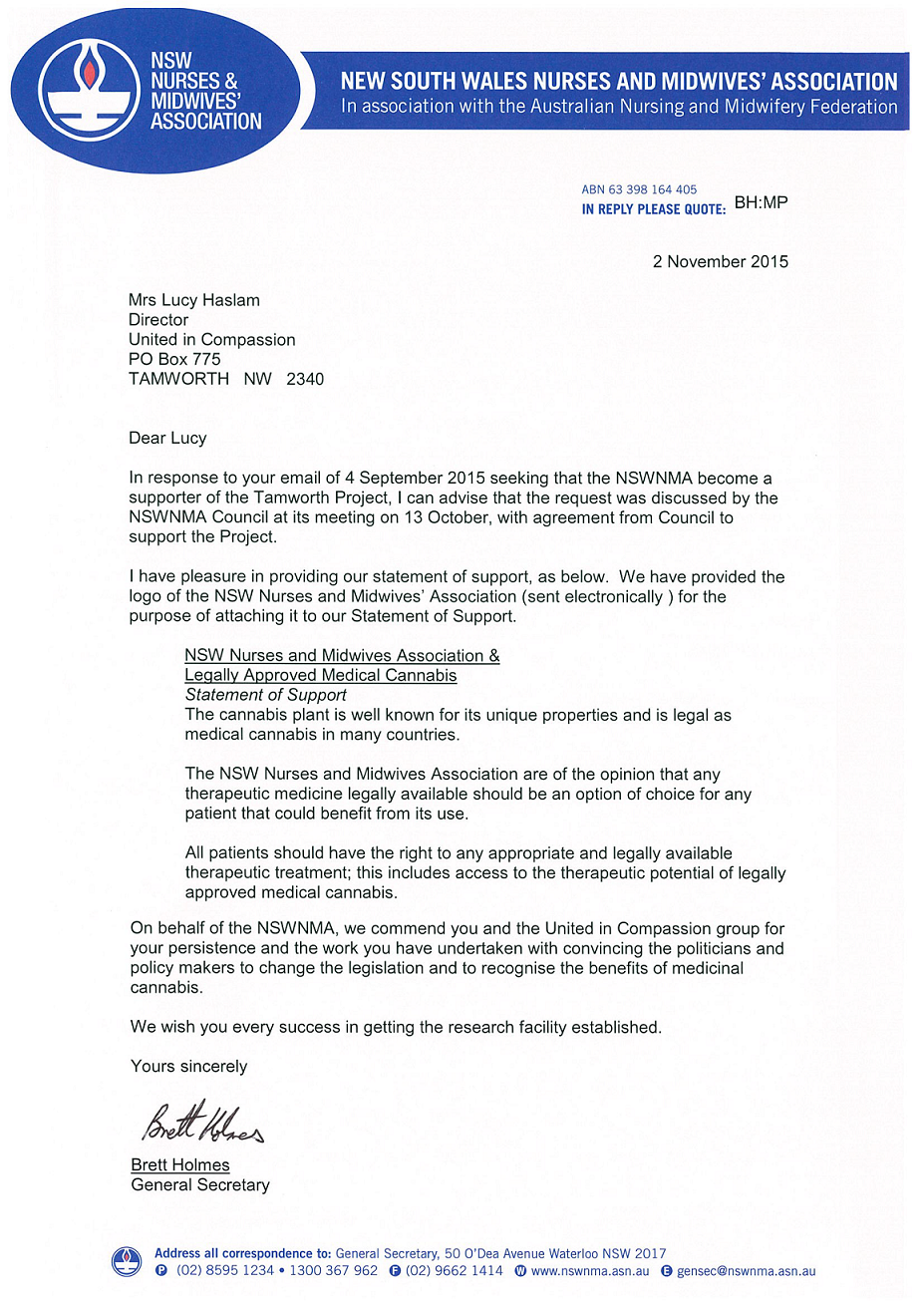 NSW Nurses & Midwives Association letter of support