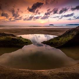 You're the Light of my Life by Gerard Macorvick - Landscapes Sunsets & Sunrises ( sunset, sea, ocean, rock, evening, sun )