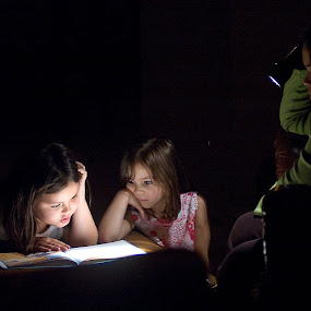 Reading By Flashlight by Don Chamblee - People Family
