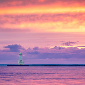 Fire in the Sky by Andrew Christmann - Landscapes Waterscapes ( water, lake michigan, ludington, lighthouse, landscape )