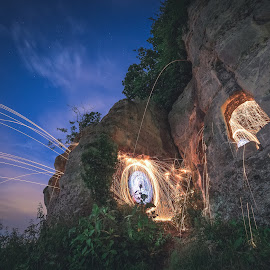Anchor Church Steel Wool by Paul Clark - Abstract Light Painting ( triassic, old, anchor church, wire wool, blue hour, windows, cave, light painting, spinning, steel wool, river trent, night, long exposure, derbyshire )