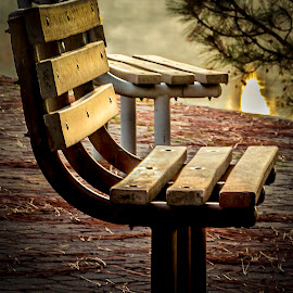 Bench  by Anthony Balzarini - Artistic Objects Other Objects ( #spokane, #bench, #outdoor, #park, #photography, #river )