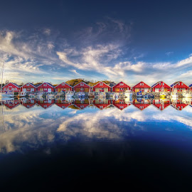 Boathouses by Jan Helge - Landscapes Waterscapes ( reflection, red, boathouse, sea, norway )