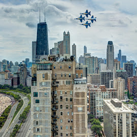 Fly Over Chicago by John Williams - Transportation Airplanes ( chicago air & water show, beach, cityscape, chicago, air show, blue angels )