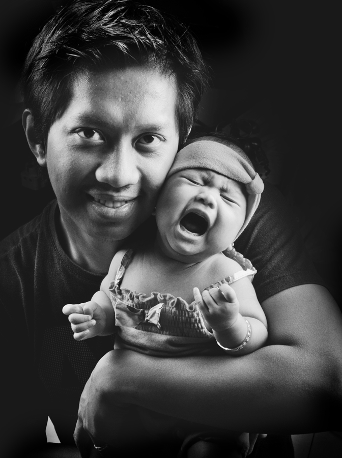 Daddy's Girl by Elmer Tendero - People Family ( studio., monochrome, black and white, daddy, family, baby girl, baby, cry, photography, father )