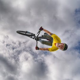 Face To Ground by Marco Bertamé - Sports & Fitness Other Sports ( clouds, updide down, blue, cloudy, air, grey, high, yellow, helmet, stunt, bicycle )