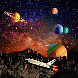 MAN EXPLORATION OF SPACE by Gerry Slabaugh - Illustration Sci Fi & Fantasy ( planets, man exploration of space, sci fi, space, exploration )