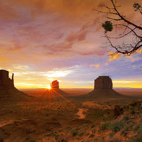 Sunrise Over Monument Valley by Al Juniarsam  - Landscapes Sunsets & Sunrises