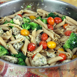 Garlicky Penne with Chicken, Broccoli 'n Grape Tomatoes