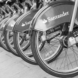 Self service by Sarah Tregear - Transportation Bicycles ( wheel, london, self service, bikes, santander, round )