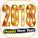 New Year 2018 Greeting Cards Icon