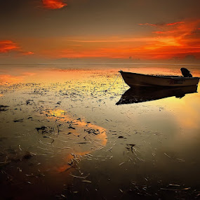lonely boat by Dody Herawan - Transportation Boats ( sunset, beach, sunrise, boat, landscape )