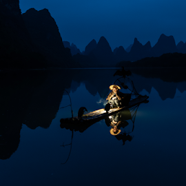 Daybreak by Andy Chow - People Professional People ( guilin, china, cormorant, blue hour, fisherman )
