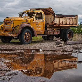 Old Concrete Truck by James Martinez - Transportation Automobiles ( reflection, old, waterscape, antique )