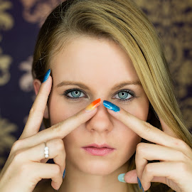 Charlotte by Jens Fischer - People Portraits of Women ( colour, blonde, girl, color, blue, beautiful, exes, nails )