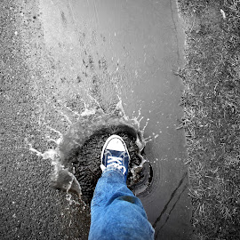 Step On It by Ernie Kasper - Abstract Water Drops & Splashes ( water, splash, blue, road, puddle, shoe, shoe lace )