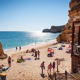 Praia da Marinha  by Paweł Mielko - Landscapes Beaches ( peoples, cliffs, cliff, portugal, praia, fin, summer, sea, beaches, playa, seascape, ocean, ocean view, beach, marinha, travel, algarve, europe, landscape )