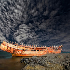Hull by Þorsteinn H. Ingibergsson - Transportation Boats ( clouds, iceland, sky, nature, wreck, ship, structor, boat, landscape )