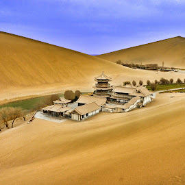 Crescent Lake by Luca Febbraio - Landscapes Deserts ( sand, desert, moon lake, china architecture, lake, crescent lake, gobi desert, dunghuan, china )