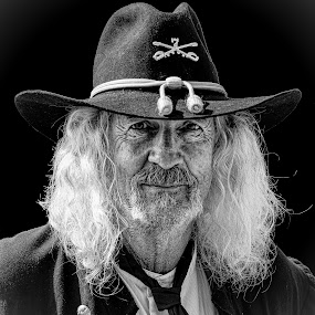 by Judy Rosanno - Black & White Portraits & People ( texas, confederate soldier, bandera,  )