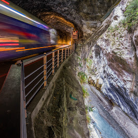 Tunneling through the Taroko Gorge by Carol Kheng - Transportation Trains ( #lighttrail, #mountain, #tarokogorge, #hualian, #taiwan, #tunnel )