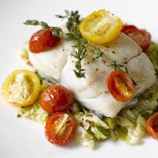 Oven-Roasted Halibut with Cherry Tomatoes and Thyme