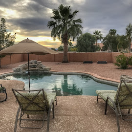 Sunset in Sun Lakes Arizona  by Paul Gibson - Instagram & Mobile iPhone ( water, sky, hdr, pool, sunset, arizona, palm trees )