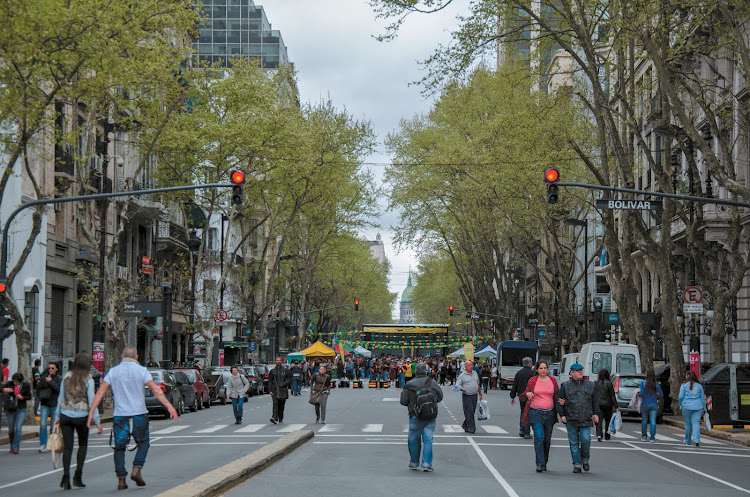 Strolling in one of the wide Parisian-style boulevards