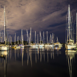 Peaceful Reflections by John Witt - Transportation Boats ( sailboats, nightshot, reflections, yacht club, sailing masts )