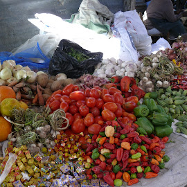 Peppers, Tomatos, and Oranges by Bill Coan - Food & Drink Fruits & Vegetables ( peppers, fruit, gonaives, market, vendor, vegetables, oranges, haiti, tomatos )
