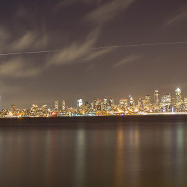 Seattle Skyline  by Yash Mehta - City,  Street & Park  Skylines ( water, night photography, buildings, reflections, long exposure, travel photography )