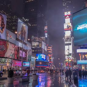 Time Square  by Massimo Izzo - City,  Street & Park  Street Scenes ( times square, street, advertising, square, nyc, ny, usa )