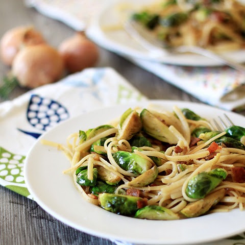 Linguine with Brussels Sprouts, Bacon, and Shallots