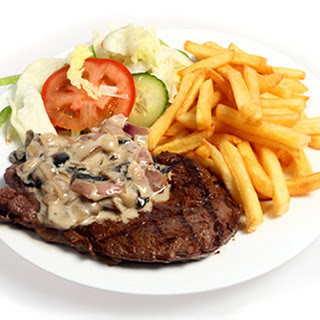 Steak and Fries with Mushroom Red-Wine Sauce