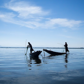 Silhouettes by Andreja Novak - People Street & Candids ( water, silhouette, lake, travel, boat, people,  )