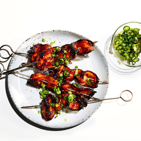Sweet and Spicy Bacon Kebabs with Scallion-Ginger Relish