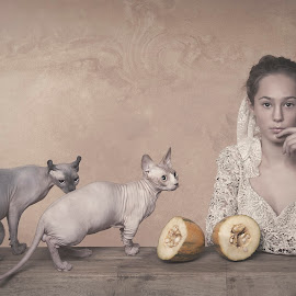Me and my friends by Carola Kayen-mouthaan - Babies & Children Child Portraits ( child, cats, girl, fine art, portrait )