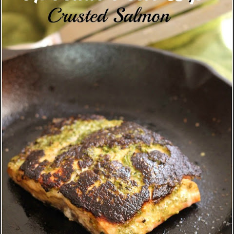 Avocado Pesto Dip Crusted Salmon