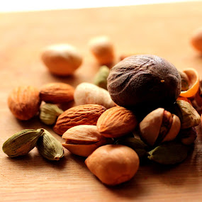 Dry fruits by Prachi More - Food & Drink Ingredients ( green cardamom, almond, warm, pista, netmeg )
