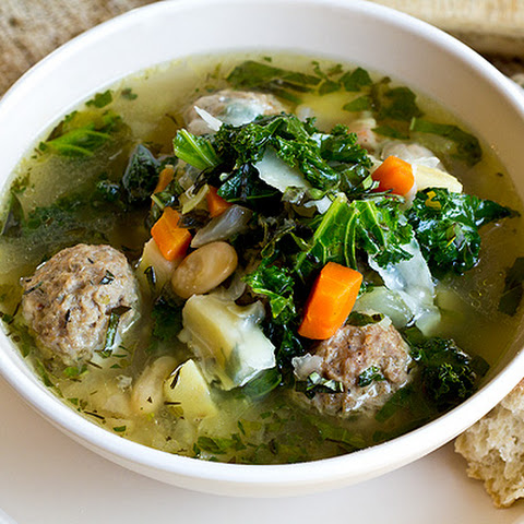 Rustic Vegetable Soup with White Beans and Spicy Herbed Meatballs