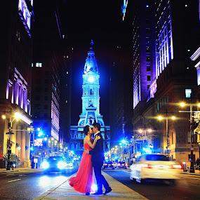 by Henry Kurniawan - Wedding Old - Engagement ( colorful, romantic, centercity, slowshutter, cityhall, night, couple, philadelphia, engagement )