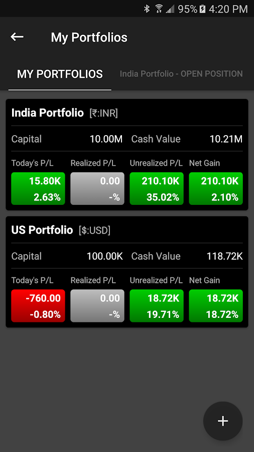 moneyGenie Stock Portfolio Screenshot 1