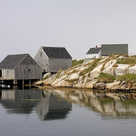 Calm Waters at Peggy's Cove by Lena Arkell - Buildings & Architecture Other Exteriors ( atlantic, peggy's cove, ocean, old, nova scotia, fishing, historical, sheds, water )
