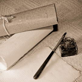 Parchments by Dominic Jacob - Artistic Objects Still Life ( sepia, parchments, still life, parchment, ink )