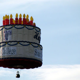 Birthday Cake Hot Air Balloon by Christine B. - Transportation Other ( cake, birthday, candles, balloons )